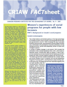 Women's experiences of social programs for people with low incomes