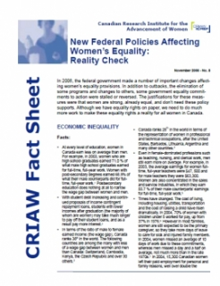 New Federal Policies Affecting Women's Equality: Reality Check