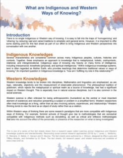 Learning Across Knowledge Systems: What are Indigenous and Western Ways of Knowing?