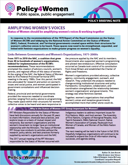 Amplifying Women's Voices policy briefing note