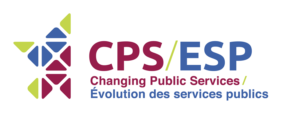"Changing Public Services logo. A half starred shaped ""net-like"" design in green, blue and burgundy"