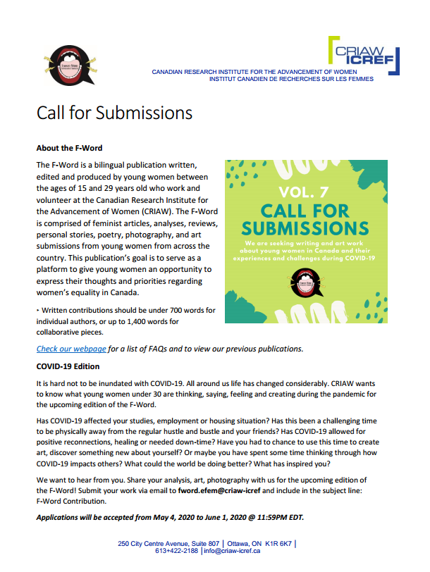 Call for Submissions File. Click for the full information