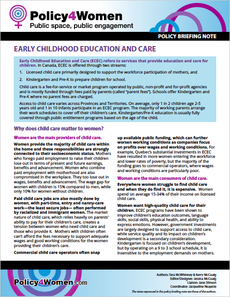 Early Childhood Education and Care policy briefing note
