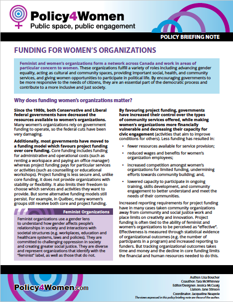 Funding for Women's Organizations policy briefing note