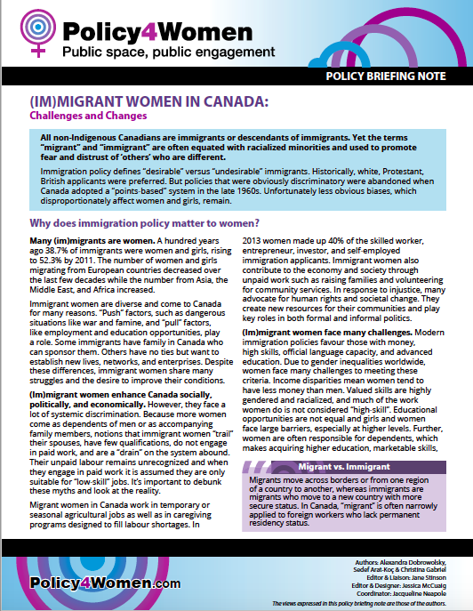 Immigrant Women in Canada policy briefing note