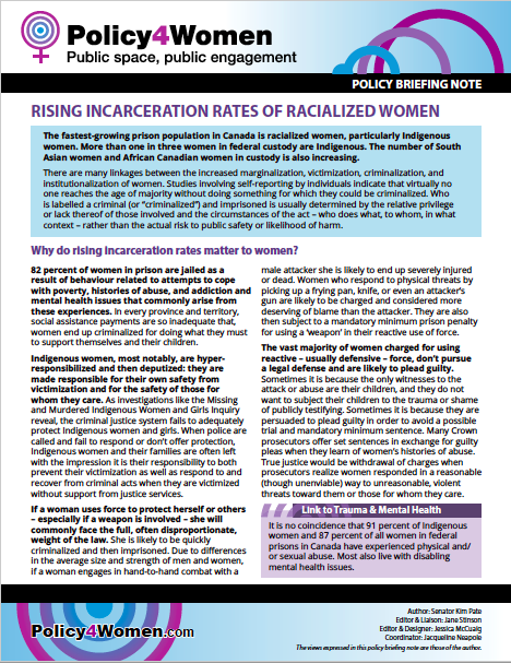Rising Incarceration Rates of Racialized Women policy briefing note