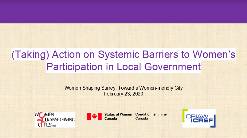 Title slide for the Taking Action on Systemic Barriers Surrey Presentation