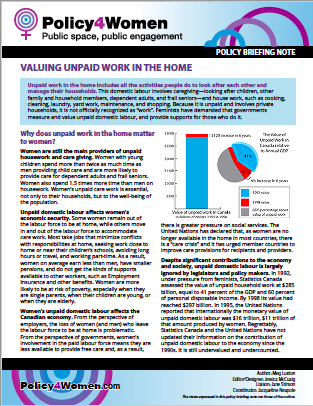 Valuing Unpaid Work in the Home Policy Briefing Note