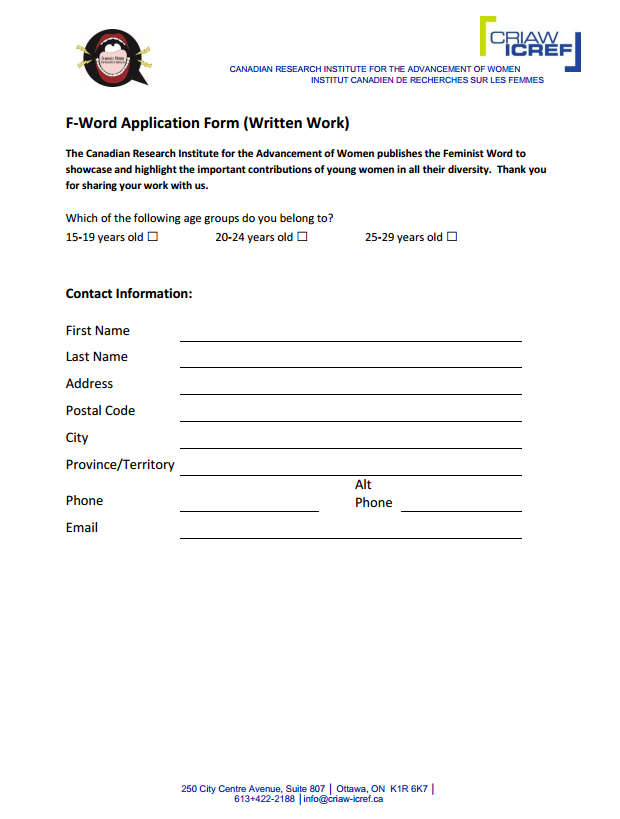 Application for Written Work Word Document